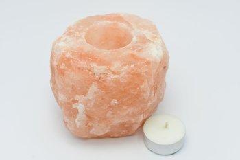 Świecznik z soli himalajskiej + 10 tealight sojowe