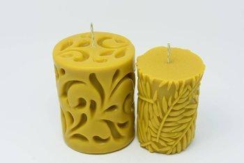 Zestaw dwóch świec z wosku pszczelego flora liście