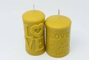 Zestaw dwóch świec z wosku pszczelego miłosne love