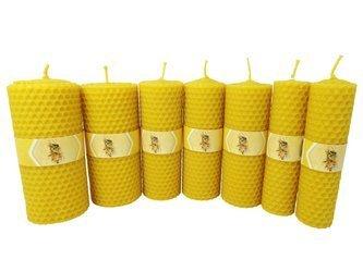 Zestaw siedmiu ekologicznych świec ręcznie zawijanych z wosku pszczelego