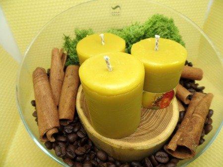 Ekologiczna świeca z wosku pszczelego w kształcie słupka 3 szt.