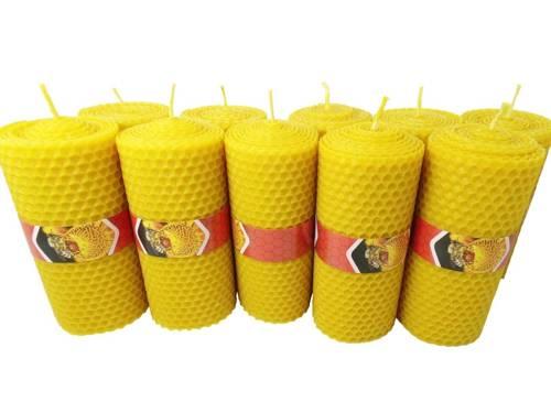 Zestaw dziesięciu ekologicznych świec ręcznie zawijanych z wosku pszczelego